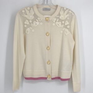 Coach Bird Crocheted Cream and Wool Pink Sweater